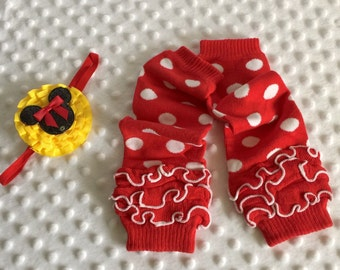 2pc Mouse Polkadot Leg Warmers AND clip-headband