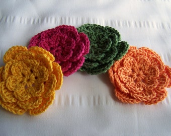 Crocheted flower 3 inch cotton set of 4 yellow green pink tangerine colors