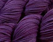 Hand Dyed Yarn - Worsted Weight Superwash Merino Lambswool Yarn - Blackberry Tonal - Knitting Yarn, Wool Yarn, Purple Yarn