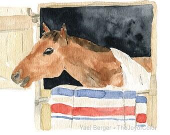 Horse art print, Horse in his stall print, horse watercolor print, ranch art, Equestrian print, nursery decor, country life, animal art
