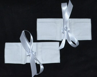 4 Small Wrap N Tye PURE WHITE Cotton & Ribbon Bow Curtain Cuff Tiebacks - See My Shop For Lots Of Colours Available