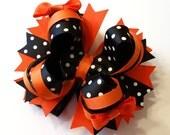SALE - Halloween Hair Bow,  Boutique Hair Bow, Halloween, Stacked Hair Bow, Hair Bow, Custom Bow