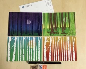 Forest Illustration Postcards - Set of 4