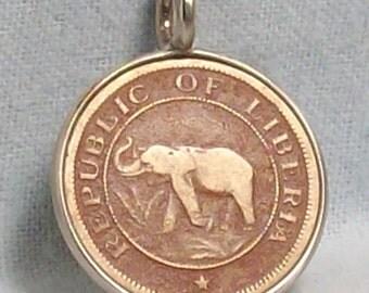 Liberia Elephant Coin Pendant (E-909)