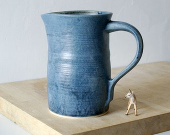 Large straight sided pouring jug - glazed in smokey blue