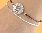 Sterling silver Mandala tree of life bracelet
