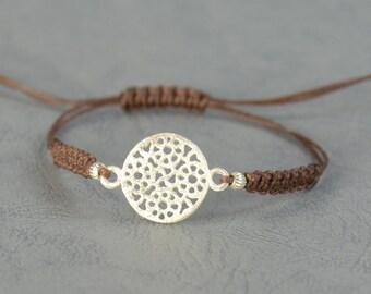 Sterling silver Mandala flower of life bracelet.Kabbalah bracelet