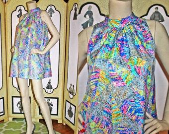 Vintage 60's Silky Psychadelic Tent Dress. Small to Medium