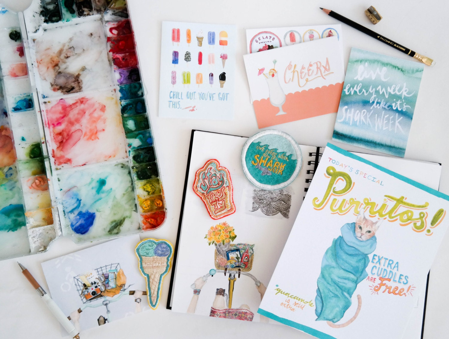 Summer stationery and art by Striped Cat Studio | stripedcatstudio.com/shop