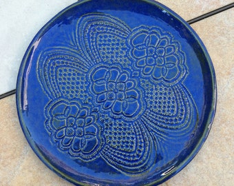 Stoneware Dinner Plate Blue Lace Plate Wall Accent Round Blue 10 inches