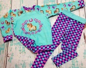 Size 2/3 pretty pony top and leggings set