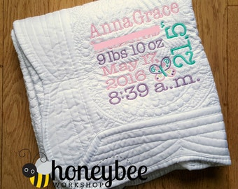 personalized embroidered baby blanket, beautiful gift, birth announcement, baby milestones, baby facts cloth monogram, subway art quilt