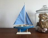 Vintage Sailboat Figurine / Nautical Decor