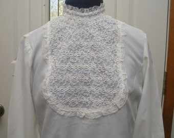 Vintage E D White Lace Bib Blouse with Lace Cuffs