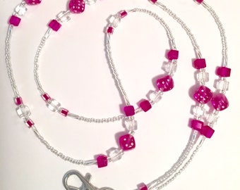 Pink and Crystal Dice Glass Beaded Lanyard