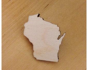 State Shape Pin - Lasercut Wood Wisconsin Brooch - Small Size