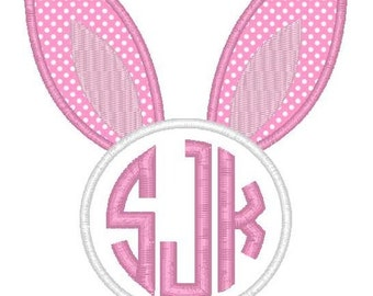 Easter Bunny Ears Monogram - Machine Embroidery Applique Design