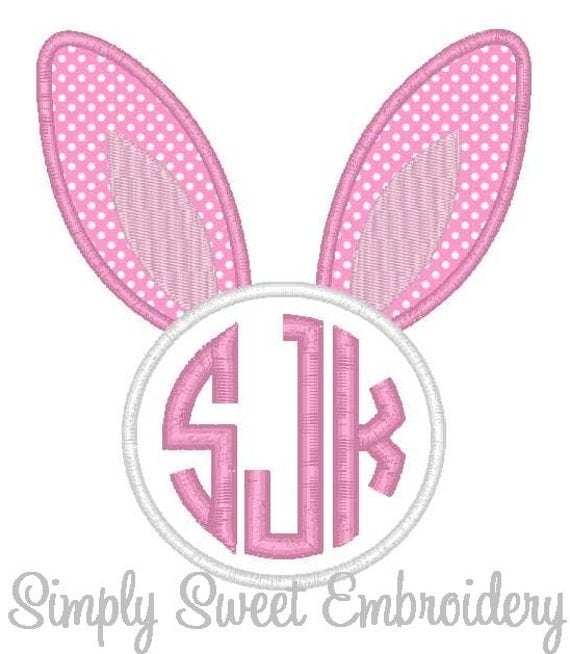 Easter bunny ears monogram machine embroidery applique
