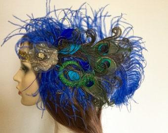 Peacock feather headband, blue feather headpiece.