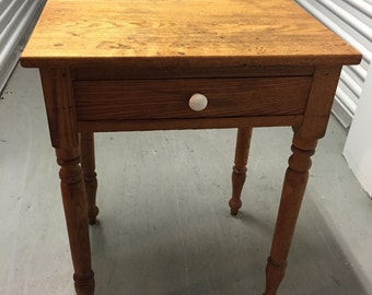 Antique Table Stand Oak Turned Legs One Drawer White Knob 18d22w29h Shipping is NOT FREE!