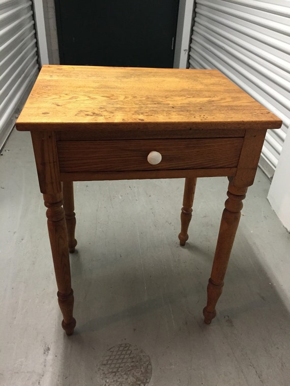 Antique Table Stand Oak Turned Legs One Drawer White Knob
