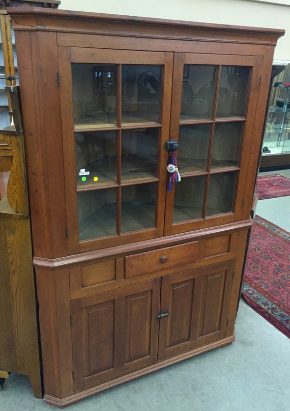 Items Similar To Antique American Cherry Corner Cabinet