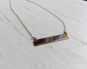 Initial Gold Bar Necklace