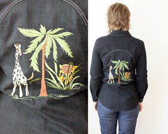 Embroidered Western / Black Denim Shirt / 70s Western Shirt Sz XS / S