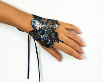 Blue Wrist Charm Cuff, Silver Sequin Handlet Corsage Bracelet, Fingerless Glove, Evening Hand Fascinator, Shiny Blue Silver Art Deco Wedding