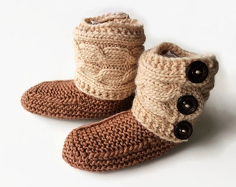 Women Slouchy Slipper Boots, Knitted Cabled Slippers, Leg Warmer Booties, Warm Winter Slipper Shoes, Mocha Ecru Beige House Boots