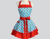 Ruffled Retro Aprons - Flirty Full Pinup Rockabilly Vintage Womens Teal Red Polka Dots Sexy Cute Kitchen Cooking Womans Apron Personalize
