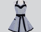 Sweetheart Retro Womans Apron / Cute Flirty Full Vintage Kitchen Cooking Apron in Black White Polka Dots Womens Aprons