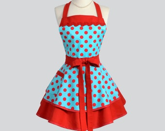 Ruffled Retro Apron - Flirty Full Pinup Rockabilly Vintage Womens Teal Red Polka Dots Sexy Cute Kitchen Cooking Womans Apron Personalize
