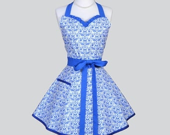 Sweetheart Retro Womans Apron / Cute Vintage Womens Cooking Apron in Beautiful Blue Kangaroo Damask on Pistachio Flirty Full Womens Apron