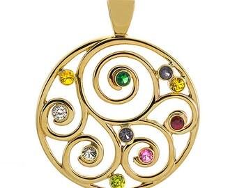 Family Spiral Birthstone Pendant (or Brooch) in 10K Gold