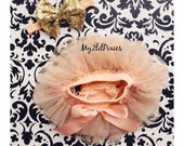 Baby Girl SET- Champagne and Gold Sparkle TUTU Baby Bloomer, all around ruffle Cover, Chiffon Baby Bloomer,Baby Girl peach and Gold headband