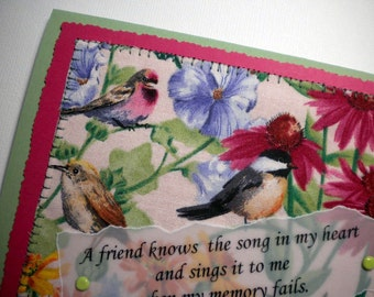 Handmade card with friendship quote ~ MY FRIEND'S SONG