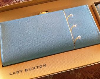 Vintage Lady Buxton Petite Fleur Baby Blue Wallet