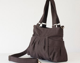 Canvas bag in dark brown, crossbody bag purse shoulder bag cotton bag crossover purse messenger diaper bag - Elessa bag