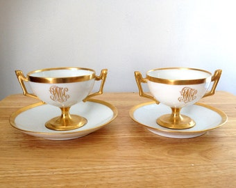 Two T & V Limoges Soup Bouillon Bowl Cup Double Handle w UnderPlate Monogram