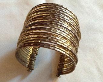Boho Vintage Brass Stacked Bagles Brass Cuff