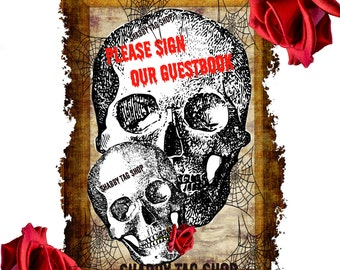 Gothic Double Skull Wedding sign our guestbook in 8x10 Instant Digital download