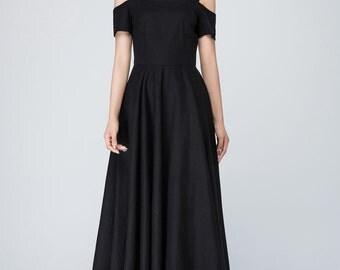 off shoulder dress, Black dress, linen dress, maxi dress, party dress, women dresses 1576