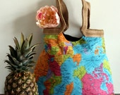 SALE - The whole world in your hand map tote bag With burlap
