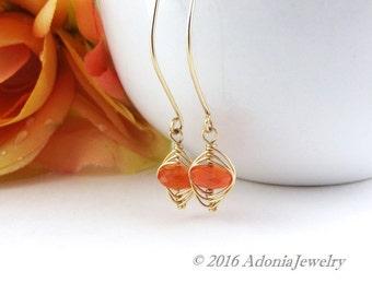 Orange Gemstone Earrings - Long Gold Earrings - Chalcedony Herringbone Earrings - AdoniaJewelry