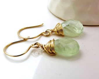 Prehnite Earrings in 14k Gold Fill - Green Gemstone Earrings - AdoniaJewelry