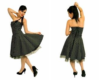 Polka dots pinup dress, gothic, alternative styles