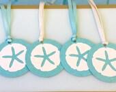 Starfish Gift Tags with Ribbon - Set of 6 - Choose Ivory or Aqua Satin Ribbon