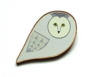 White Owl Pin / Barn Owl Pin / Owl Brooch / Owl Pin / Scandi Style Owl