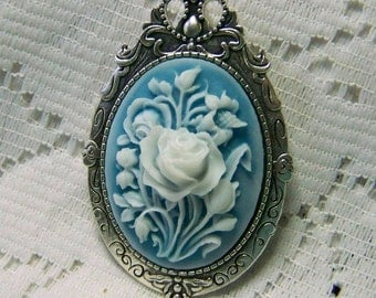 Something Blue Floral Bouquet Pin Necklace, Lily of the Valley & Rose Bouquet Brooch, White Rose Cameo, Wedding Bouquet Jewelry, Aqua